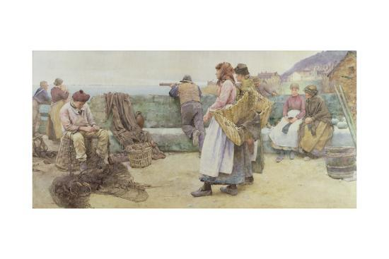 In a Cornish Fishing Village: Departure of the Fleet for the North, 1886-Walter Langley-Giclee Print