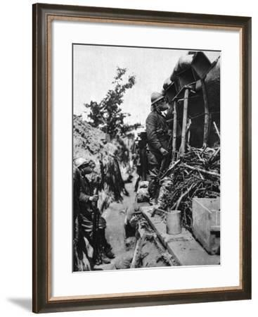 In a Front Italian Trench at Podgora Hill: a Gas-Masked Sentry--Framed Photographic Print
