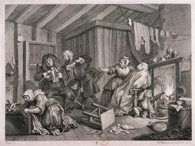 In a High Saliuation at the Point of Death, Plate V of the Harlot's Progress, 1732-William Hogarth-Giclee Print