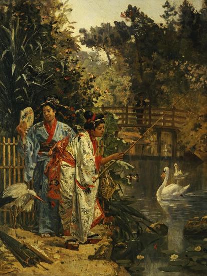 In a Japanese Garden-Edouard Castres-Giclee Print