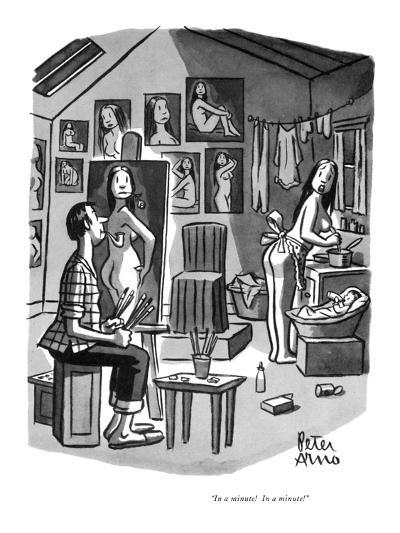 """""""In a minute!  In a minute!"""" - New Yorker Cartoon-Peter Arno-Premium Giclee Print"""