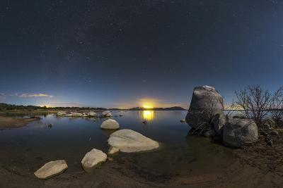 In a Moonlit Night the Milky Way Appears Above Lake Alqueva, Portugal-Babak Tafreshi-Photographic Print