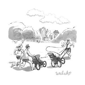 In a park, two runners jog with a baby stroller. in front of them, a strol? - New Yorker Cartoon