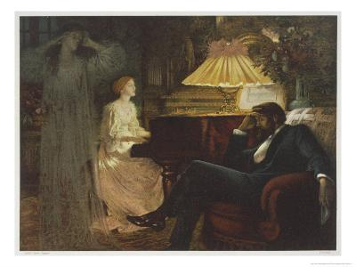 In a Reverie Induced by His Wife Playing the Piano He Hallucinates the Girl He Didn't Marry-Frank Bernard Dicksee-Giclee Print