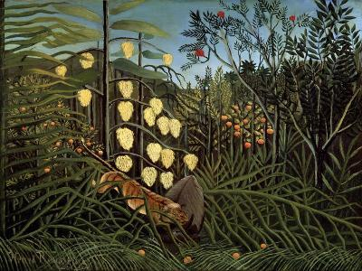 In a Tropical Forest. Struggle Between Tiger and Bull, 1908-1909-Henri Rousseau-Giclee Print