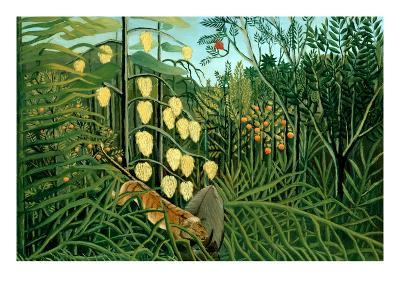 In a Tropical Forest; Tiger Attacks a Buffalo-Henri Rousseau-Art Print