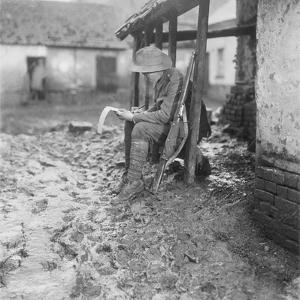 In Billets at Flesselles. a Member of the Australian 2nd Battalion Carrying On with His Corresponde