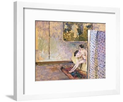 In Bonnard's Studio at 60 Rue De Douai: Nude by a Screen; Dans L'Atelier De Bonnard-Edouard Vuillard-Framed Giclee Print