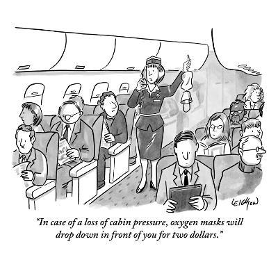 """In case of a loss of cabin pressure, oxygen masks will drop down in front?"" - New Yorker Cartoon-Robert Leighton-Premium Giclee Print"