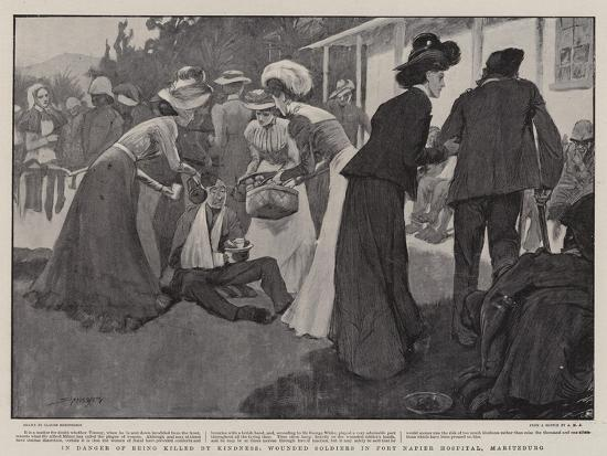 In Danger of Being Killed by Kindness, Wounded Soldiers in Fort Napier Hospital, Maritzburg-Claude Shepperson-Giclee Print
