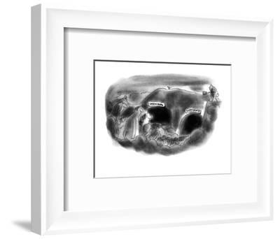 In Hell there are two caves, 'Individual' and 'Corporate.' - New Yorker Cartoon-Arnie Levin-Framed Premium Giclee Print