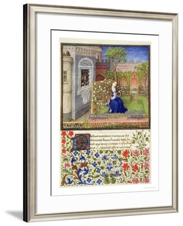 "In Her Garden, Plate 22, from ""Teseida"", by Giovanni Boccaccio, 1468--Framed Giclee Print"