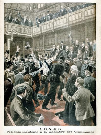 In London, Violent Incident in the Chamber of Commons, 1901--Giclee Print