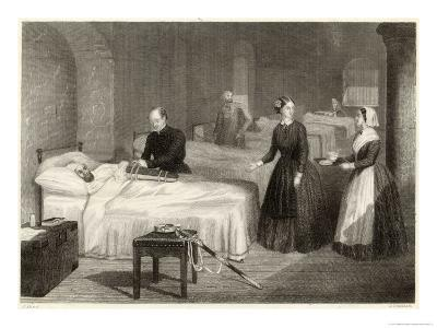 In Scutari Florence Nightingale Assists While a Doctor Puts a Splint on a Patient's Arm- Greatbach-Giclee Print