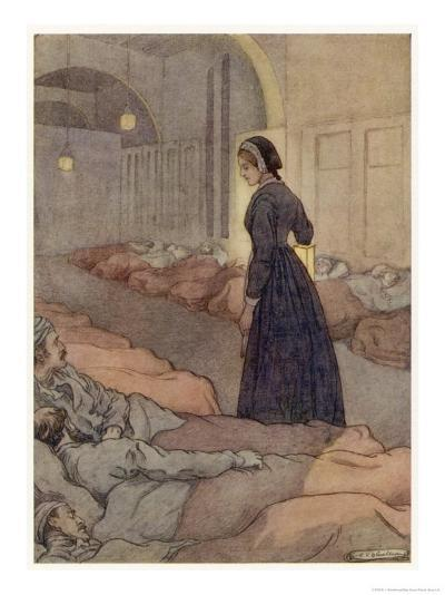In Scutari Florence Nightingale Checks Patients During the Night-M^v^ Wheelhouse-Giclee Print