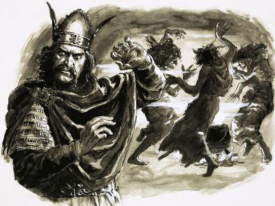 In Shakespeare's Play, Macbeth Meets Three Witches-C.l. Doughty-Giclee Print