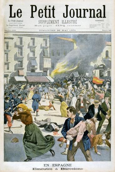 In Spain, Riots Break Out in Barcelona, 1901--Giclee Print