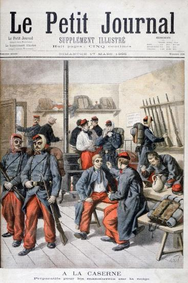 In the Barracks, Preparation for Manoeuvres in the Snow, 1895-Frederic Lix-Giclee Print