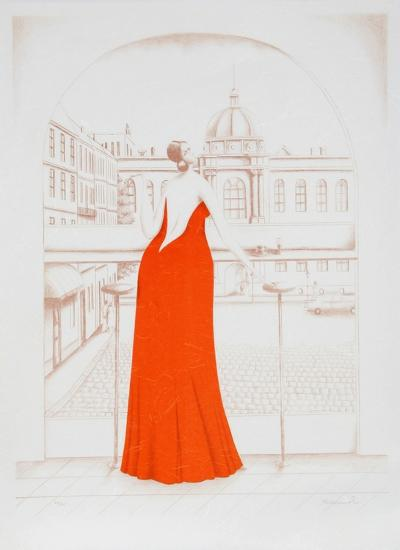 In the Cafe (Red)-Branko Bahunek-Limited Edition