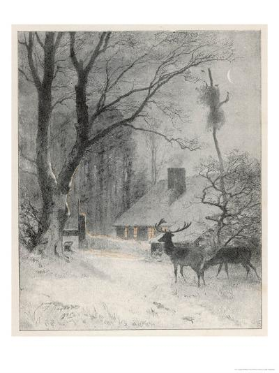 In the Cold Weather the Wild Deer Come Closer to the House-Carl Frederic Aagaard-Giclee Print