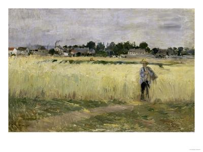 In the Cornfields at Gennevilliers, c.1875-Berthe Morisot-Giclee Print