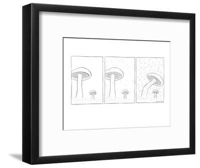 In the grass stands a large and small mushroom growing in grassy plot. Dro? - New Yorker Cartoon-Richard McCallister-Framed Premium Giclee Print