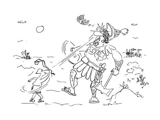 In the great battle between David and Goliath David hits Goliath with a ra? - Cartoon-Arnie Levin-Premium Giclee Print