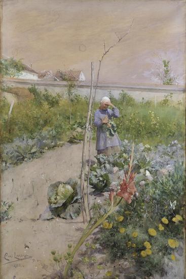 In the Kitchen Garden, 1883-Carl Larsson-Giclee Print