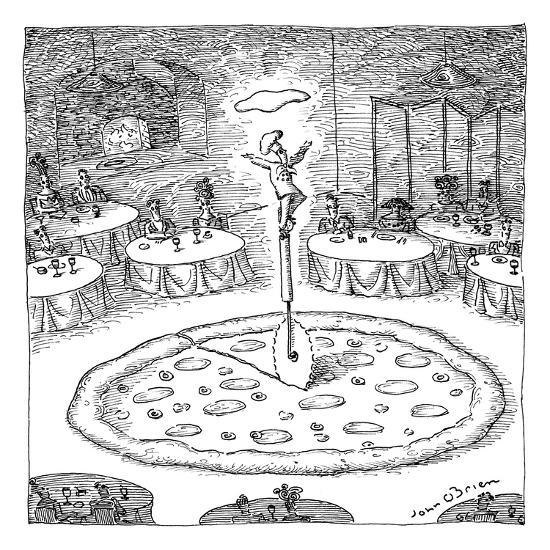 "In the middle of a restaurant, a chef balances atop a giant pizza-cutter (?"" - New Yorker Cartoon-John O'brien-Premium Giclee Print"