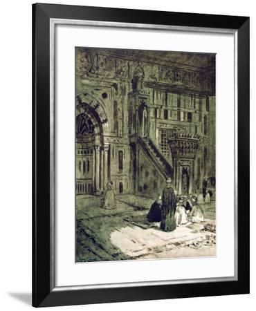 In the Mosque of the Sultan Hassan, Cairo, Egypt, 1928-Louis Cabanes-Framed Giclee Print