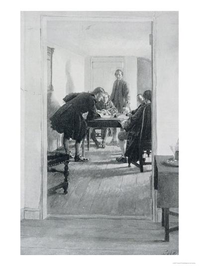 """In the Old Raleigh Tavern, Illustration from """"At Home in Virginia"""" by Woodrow Wilson-Howard Pyle-Giclee Print"""