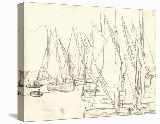 In the Port at Honfleur (Pencil on Paper)-Claude Monet-Stretched Canvas Print