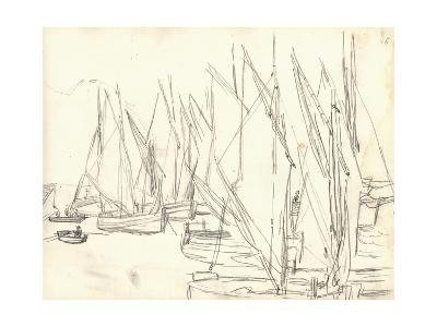 In the Port at Honfleur (Pencil on Paper)-Claude Monet-Premium Giclee Print
