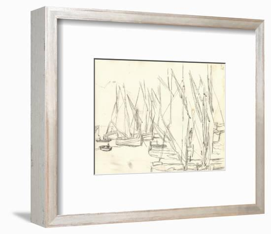 In the Port at Honfleur (Pencil on Paper)-Claude Monet-Framed Premium Giclee Print