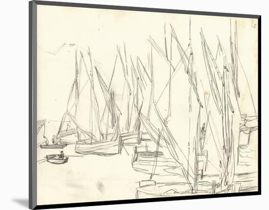 In the Port at Honfleur (Pencil on Paper)-Claude Monet-Mounted Premium Giclee Print