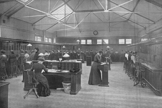 In the Post Office Central Telephone Exchange, City of London, c1903 (1903)-Unknown-Photographic Print