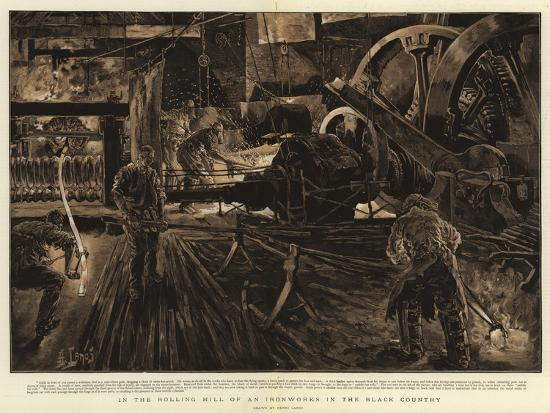 In the Rolling Mill of an Ironworks in the Black Country-Henri Lanos-Giclee Print