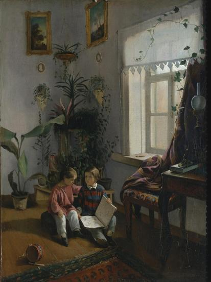 In the Room. Young Boys Looking at Book, 1854-Ivan Phomich Khrutsky-Giclee Print