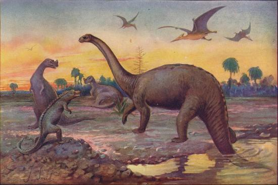 In the Saurian Age, when the World's inhabitants were gigantic peptiles, 1907-Unknown-Giclee Print