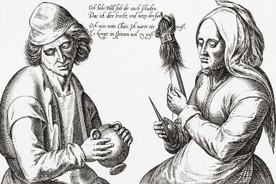 In the Spinning Room. a Scene from the Middle Ages. from Illustrierte Sittengeschichte Vom Mittelal--Giclee Print