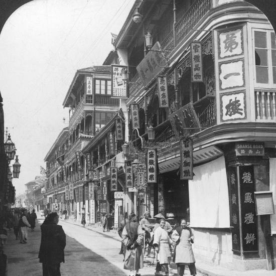 In the Street of the Tea Houses, Shanghai, China, 1901-Underwood & Underwood-Photographic Print