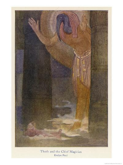 In the Temple the Chief Magician is Visited by the God Thoth in a Dream-Evelyn Paul-Giclee Print