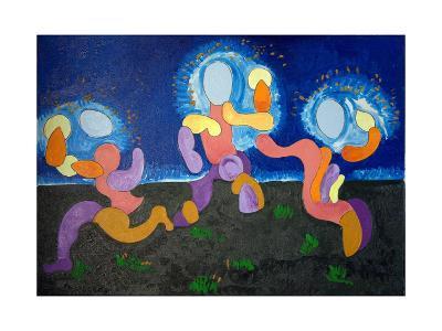 In the Warm Nights of June,The Troglodytes Celebrate Fire, 2009-Jan Groneberg-Giclee Print