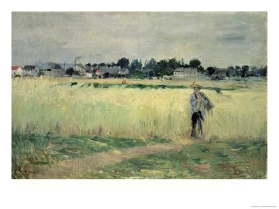In the Wheatfield at Gennevilliers, 1875-Berthe Morisot-Giclee Print