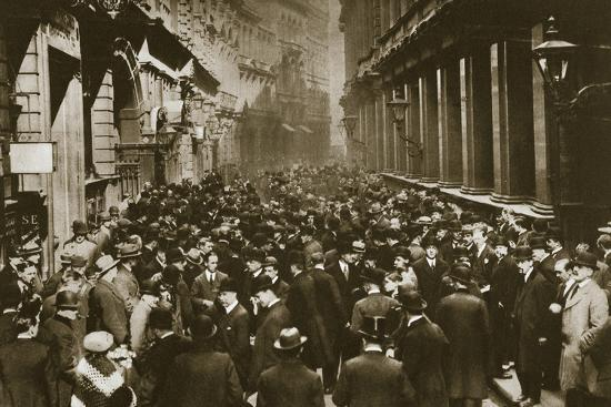 In Throgmorton Street beside the north wall of the London Stock Exchange, 20th century-Unknown-Photographic Print