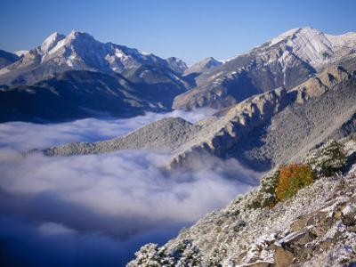 Clouds Fill the Valley of Llobegat in Cadi Moixero Natural Park. Catalonia, Pyrenees, Spain