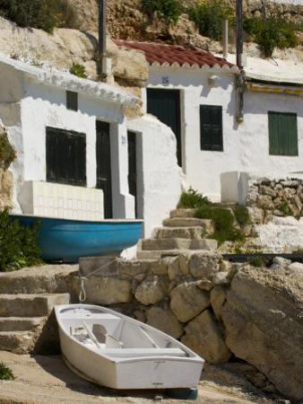 Village Houses Cut into the Cliffs, Cala D'Alcaufar, Menorca Island, Balearic Islands, Spain