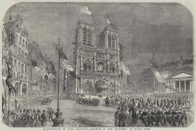 Inauguration of Louis Napoleon, Exterior of the Cathedral of Notre Dame--Giclee Print