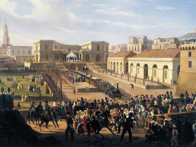 Inauguration of the Naples-Portici Railway, October 3, 1839-Salvatore Fergola-Giclee Print