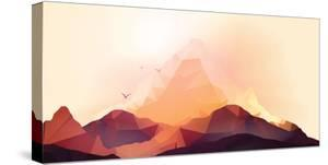 Geometric Mountain and Sunset Background - Vector Illustration by Inbevel